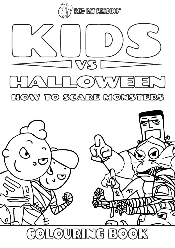Red Cat Reading Halloween coloring book cover